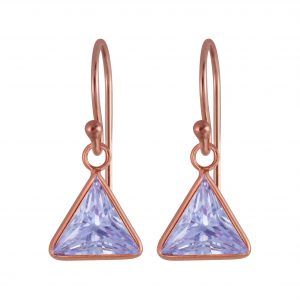 Wholesale 8mm Triangle Cubic Zirconia Silver Earrings