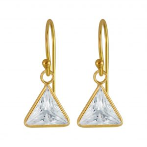 Wholesale 8mm Triangle Cubic Zirconia Silver Earrings