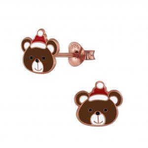 Wholesale Silver Christmas Bear Stud Earrings