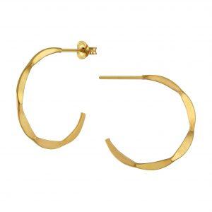Wholesale Silver Hammered Half Hoop Stud Earrings