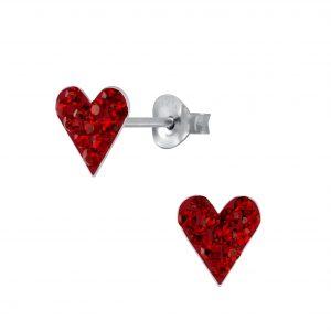 Wholesale Silver Heart Crystal Stud Earrings