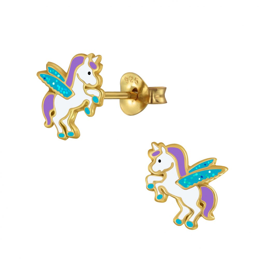 Wholesale Silver Winged Unicorn Stud Earrings