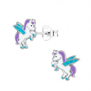 Wholesale Silver Winged Unicorn Stud Earrings