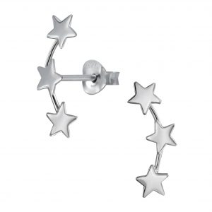 Wholesale Silver Triple Star Stud Earrings