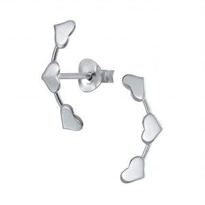 Wholesale Silver Triple Heart Stud Earrings