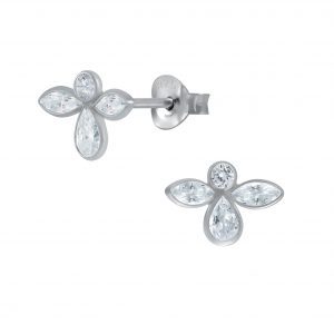 Wholesale Silver Angel Cubic Zirconia Stud Earrings