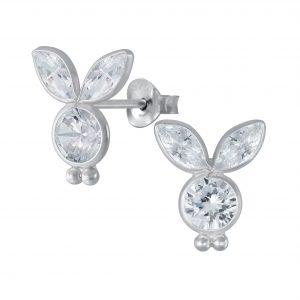 Wholesale Silver Cubic Zirconia Rabbit Stud Earrings