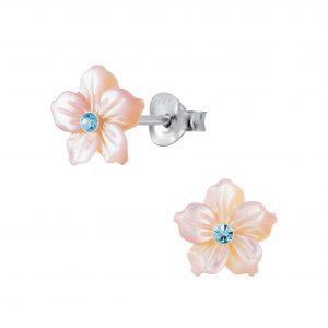 Wholesale Silver Shell Flower Stud Earrings