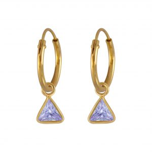 Wholesale 4mm Triangle Cubic Zirconia Silver Charm Hoop Earrings