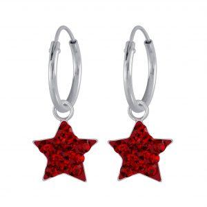 Wholesale Silver Crystal Star Charm Hoop Earrings