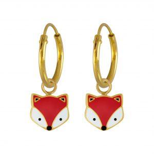 Wholesale Silver Fox Charm Hoop Earrings