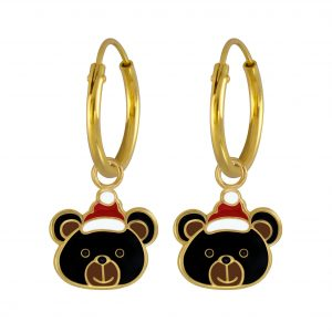 Wholesale Silver Christmas Bear Charm Hoop Earrings