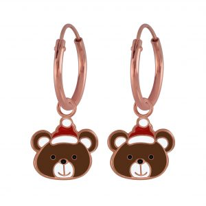 Wholesale Silver Christmas Bear Charm Hoop Earrings