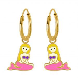 Wholesale Silver Mermaid Charm Hoop Earrings