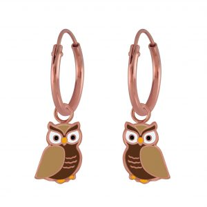 Wholesale Silver Owl Charm Hoop Earrings