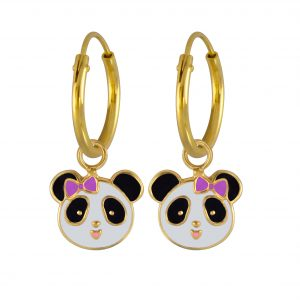 Wholesale Silver Panda Charm Hoop Earrings