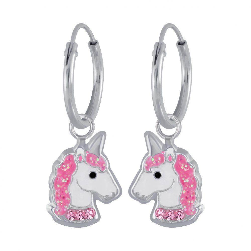 Wholesale Silver Unicorn Charm Hoop Earrings