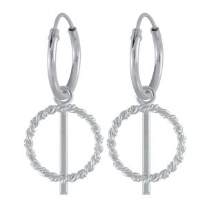 Wholesale Silver Twisted Circle Charm Hoop Earrings