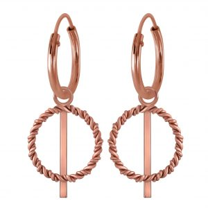 Wholesale Silver Twisted Circle Charm Hoops Earrings