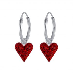 Wholesale Silver Crystal Heart Charm Hoop Earrings