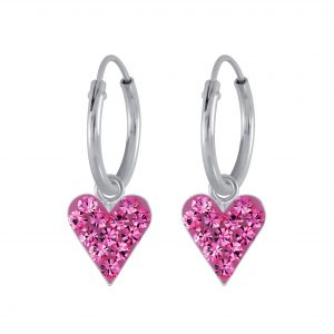 Wholesale Silver Crystal Heart Charm Hoop Earrings