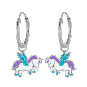 Wholesale Silver Winged Unicorn Charm Hoop Earrings