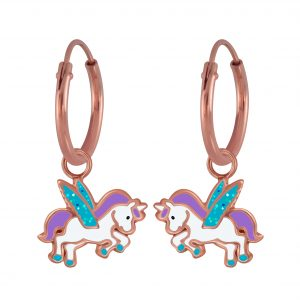 Wholesale Silver Winged Unicorn Charm Hoop Earrings