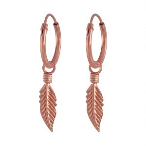 Wholesale Silver Feather Charm Hoop Earrings