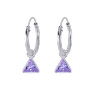 Wholesale 4mm Triangle Cubic Zirconia Silver Charm Hoop Earrings