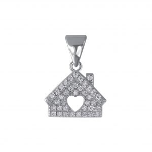 Wholesale Silver House Cubic Zirconia Pendant
