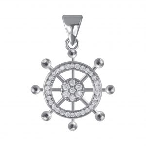 Wholesale Silver Ship Wheel Cubic Zirconia Pendant