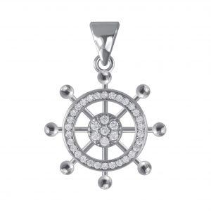 Wholesale Silver Ship Wheel Cubic Zirconia Pendant