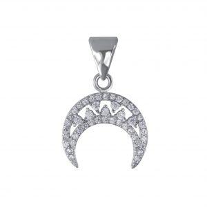 Wholesale Silver Half Moon Cubic Zirconia Pendant