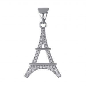 Wholesale Silver Eiffel Tower Cubic Zirconia Pendant