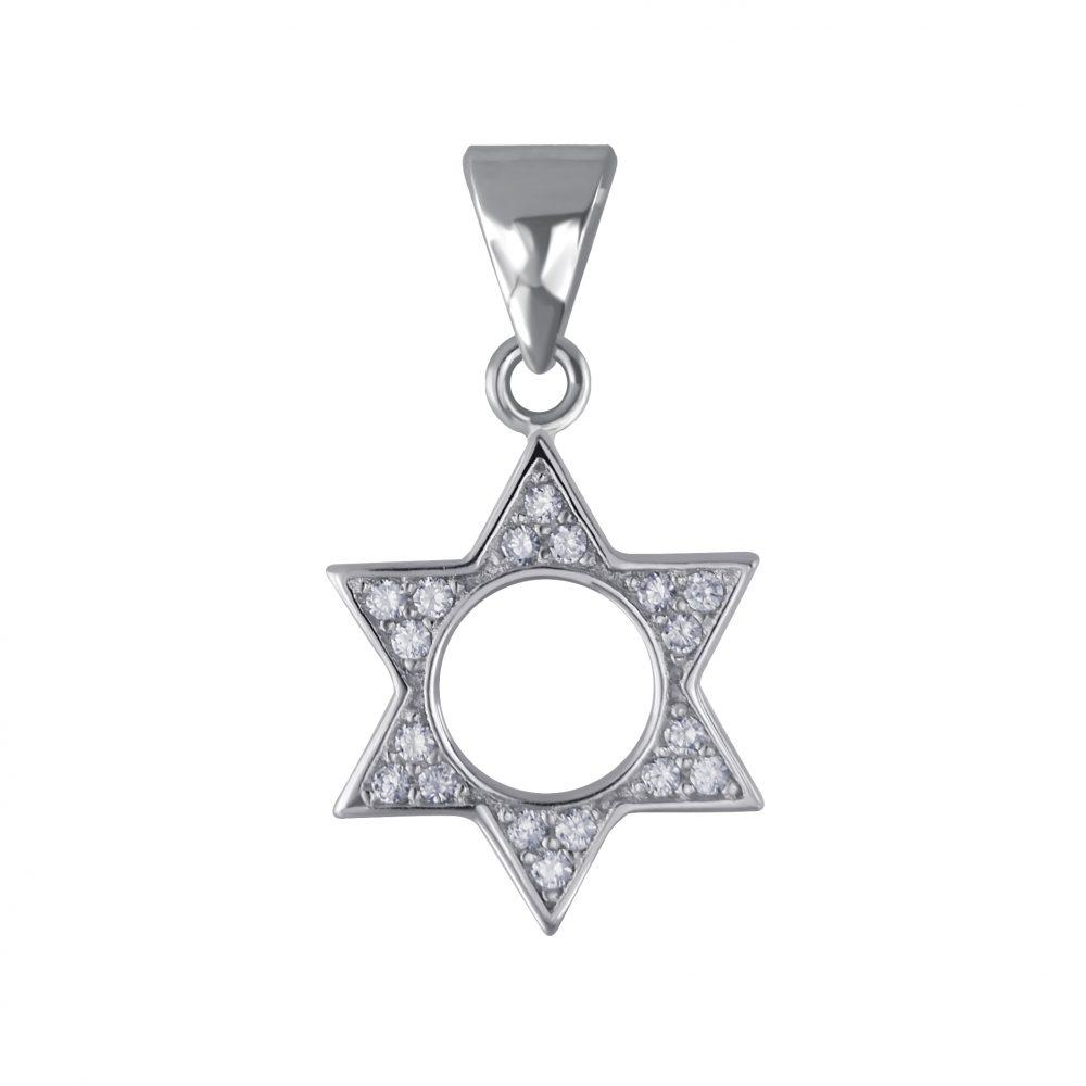 Wholesale Silver Star of David Cubic Zirconia Pendant