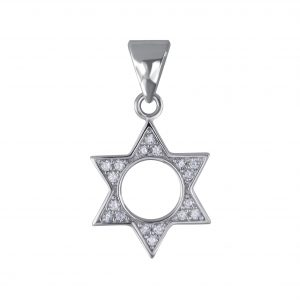 Wholesale Silver Star of David Cubic Zirconia Pendant