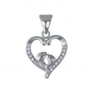 Wholesale Silver BabyFeet In Heart Cubic Zirconia Pendant