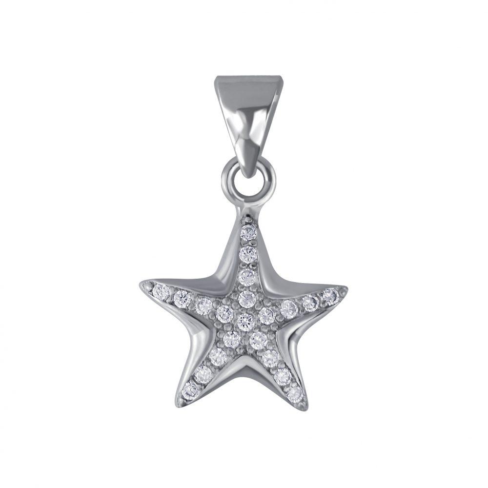 Wholesale Silver Star Cubic Zirconia Pendant