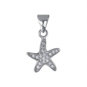 Wholesale Silver Starfish Cubic Zirconia Pendant