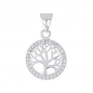 Wholesale Silver Tree Of Life Cubic Zirconia Pendant