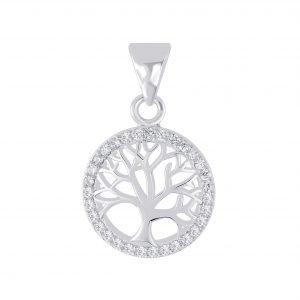 Wholesale Silver Tree Of Life Cubic Zirconia Pendant