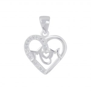 Wholesale Silver I Love Mom Cubic Zirconia Pendant