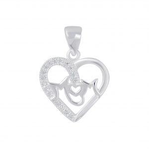 Wholesale Silver I Love Mom Cubic Zirconia Pendant