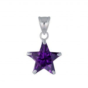 Wholesale 10mm Star Cubic Zirconia Silver Pendant