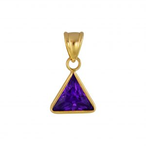Wholesale 8mm Triangle Cubic Zirconia Silver Pendant
