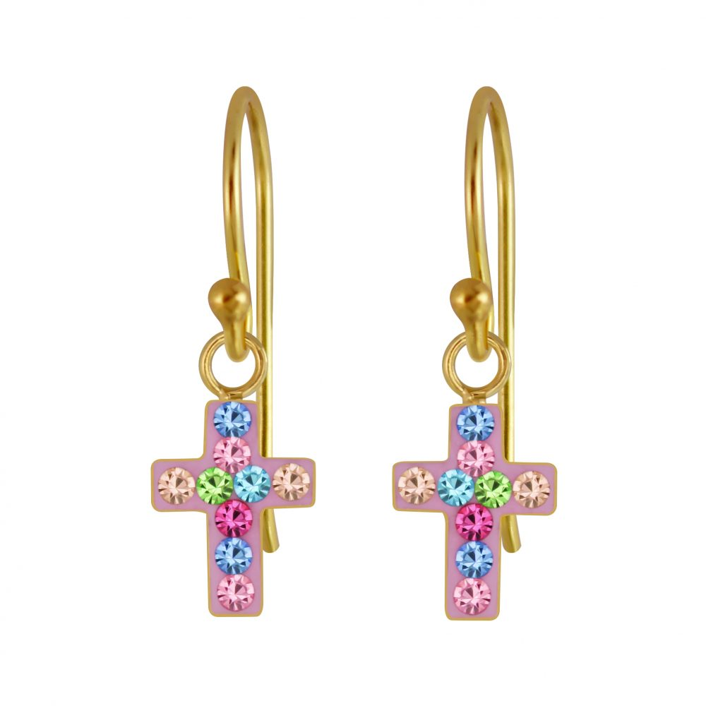 Wholesale Silver Cross Crystal Earrings