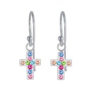 Wholesale Silver Cross Crystal Earrings