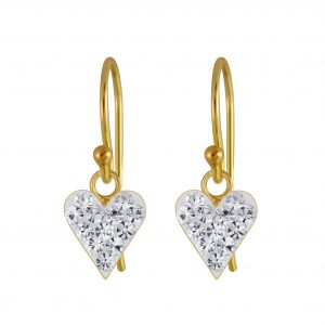 Wholesale Silver Heart Crystal Earrings