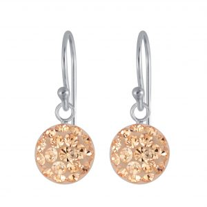 Wholesale Silver Round Crystal Earrings