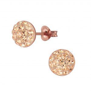 Wholesale Silver Round Crystal Stud Earrings